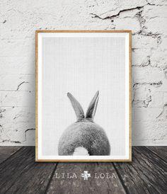 Rabbit Print, Rabbit Butt Tail, Black and White Animal Wall Art, Printable Nursery Bunny, Woodlands Decor, Cute Rabbit, Instant Download