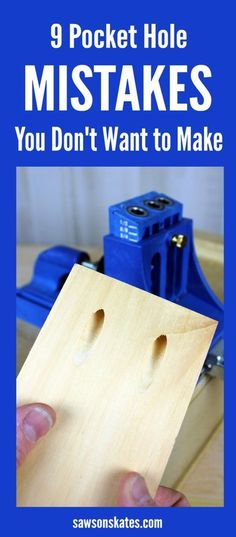 Plans of Woodworking Diy Projects - Do you know how to use a Kreg Jig? Are you making these pocket hole mistakes? Here are 9 tips for avoiding pocket hole mistakes when building DIY projects. Get A Lifetime Of Project Ideas & Inspiration! Learn Woodworking, Easy Woodworking Projects, Teds Woodworking, Popular Woodworking, Carpentry Projects, Woodworking Jigsaw, Intarsia Woodworking, Woodworking Techniques, Woodworking Articles