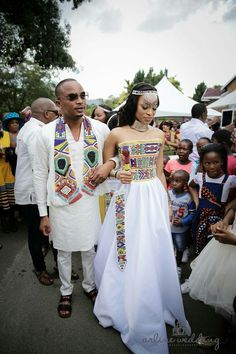 South African traditional wedding garments. Striking similarities to Native American traditional beads.