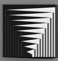 This is a painting by Marcello Morandini, representing the movement of optical art. The black and white stripes give an optical illusion, which is what the movement was all about. Illusion Kunst, Illusion Art, Fractal, Art Graphique, Geometric Art, Geometric Quilt, Optical Illusions, Pattern Art, Textures Patterns