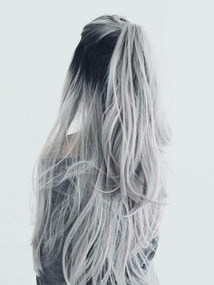 Straight Full Head Clip in Synthetic Hair Extensions white silver hair ombre hair color Hair Dye Colors, Ombre Hair Color, Cool Hair Color, Grey Ombre, Hair Inspo, Hair Inspiration, Cheveux Oranges, Silver Ombre Hair, Silver Hair Girl