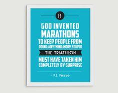 Triathlon Retro Print  Sports Quote Art  von StephLawsonDesign, $15.00