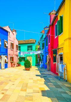 Venice landmark, Burano island street, colorful houses