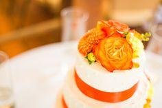 Brett Simpson Photography - orange and yellow wedding cake