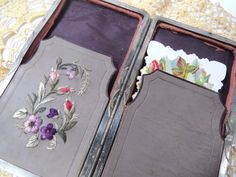 Antique Leather Calling Card Case with Floral Silk Embroidery, Etched Metal Design & 2 Carte de Viste Photos by UrbanRenewalDesigns on Etsy