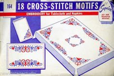 Vintage 1940's Superior Cross Stitch Motifs Transfers for Tablecloth Napkins | eBay