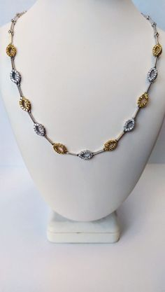 We would like to introduce to you a luxurious necklace that features 2.41 ct #diamonds with 18k white and yellow #gold. The necklace is very comfortable on the neck and has a bracelet catch clasp. Make this #necklace an unforgettable gift for your special someone. $1,925