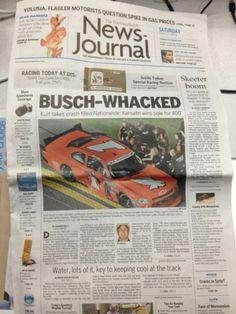 Front page of today's Daytona Beach News-Journal. #nascar