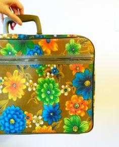 Bright Vintage Floral Suitcase / Bantam Retro Mod Floral Luggage / Hawaiian Floral Suitcase by thehappyforest on Etsy