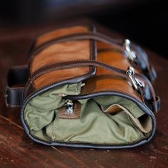 Men's Leather Dopp Kit: Riverton, Whiskey - Front View