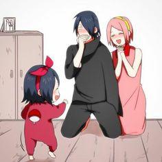 Sarada first steps and look at Sasuke 😂😂😂 Anime Naruto, Naruto Comic, Naruto Shippuden Sasuke, Sasuke Uchiha Sakura Haruno, Naruto Cute, Naruto And Hinata, Gaara, Kakashi, Wallpapers Naruto