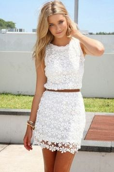 Wonderful little white lace dress | Just a Pretty Style