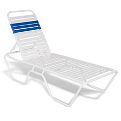 Strap Patio Stackable Chaise Lounge 78x27x14 White $195.00
