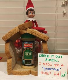 Donut's got jokes. 2017 #elfontheshelf Elf On The Self, Elf Magic, Kids Christmas, Christmas Activities, Christmas Traditions, Christmas Crafts, Xmas Elf, Christmas Decorations, Elf Names