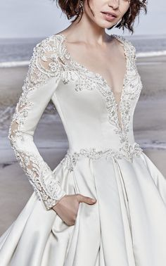 Sottero and Midgley - BRENNON, This breathtaking Carlo Satin wedding dress features long sleeves accented in exquisite illusion lace details and beading. Sottero and Midgley - BRENNON, This breathtaking Carlo Satin wedding dress f Dream Wedding Dresses, Bridal Dresses, Wedding Gowns, Modest Wedding, Wedding Reception, Rustic Wedding, Sottero And Midgley Wedding Dresses, Sottero Midgley, Beautiful Dresses