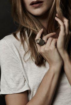 Ring, concrete, sterling silver and 24k gold leaf. 2014 Jewel: Catrie Photo: Elizabeth Delage & James Rosen Model: Marie-Noelle Voisin Mua: Janick Sabourin Poirier