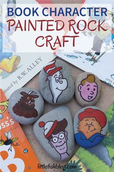 This book character painted rock craft is the perfect activity to do after reading a favourite book together. Get painting and then go out and hide your rock for someone else to find! Which book character will you paint? #bookactivities #rockpainting #paintedrocks #kidsactivities #kidsrockcrafts