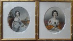 Antique Pair of Portraits of Young Victorian Era Ladies Matted and Framed