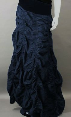 Long denim skirt with slight a-line ruched look and solid banded elastic waist! Completely chic and modest Modest Dresses, Modest Outfits, Classy Outfits, Modest Fashion, Pretty Outfits, Boho Fashion, Cute Outfits, Maxi Dresses, Blouse And Skirt