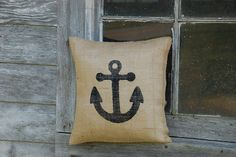 Burlap Pillow Cover Nautical Anchors by winkandasmilepc on Etsy, $22.00