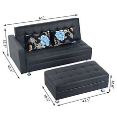 Generic NV_1008004605-QYUS484605 Lounge Chair Storage Bed Couch Modern Stor Modern Storage Sofa ouch Lou PU Furniture Black re Black Mattress Pillows Furniture Black