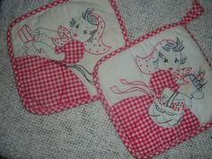 applique and embroidered pot holders