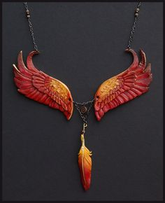 Eternal Phoenix Leather Necklace - Beautiful and Creative Leather Jewelry by Wind Falcon Leather Necklace, Leather Jewelry, Leather Craft, Jewelery, Jewelry Necklaces, Pendant Jewelry, Bijoux Art Nouveau, Jewelry Accessories, Jewelry Design