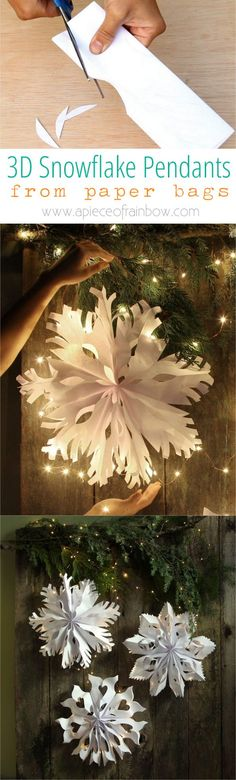 Make giant lighted snowflake pendants from paper bags or white paper. Easy tutorial with free templates. Beautiful decor for holidays and year round! - A Piece of Rainbow. Great ideas for a white Christmas. Noel Christmas, Winter Christmas, All Things Christmas, Christmas Ornaments, Fall Winter, Christmas Paper, Preschool Christmas, Christmas Projects, Holiday Crafts