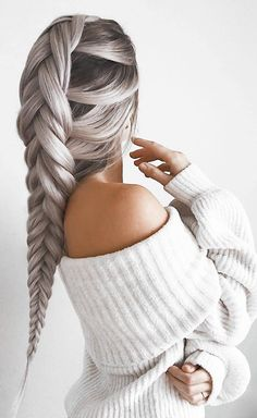 Chenille Off-the-Shoulder Sweater - A ribbed chenille sweater featuring an elasticized foldover off-the-shoulder neckline, long balloon sleeves, and a relaxed fit. Curly Half Wig, Half Wigs, Cute Hairstyles, Braided Hairstyles, Grey Hair Wig, Brown Hair, Grunge Hair, Cool Hair Color, Hair Looks