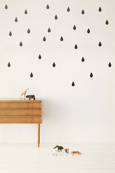 Muursticker mini Drops / Druppels zwart van Ferm Living