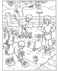 coloring page of a vegetable garden