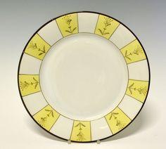 Dinner plate by Nora Gullbrandsen for Porsgrund Porselen. In production between Designed in 1930 Deco, Porcelain, Pottery, China, Plates, Ceramics, Dinner, Yellow, Tableware