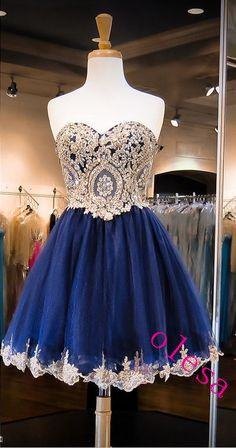 Dark Navy Homecoming Dresses Crystals Homecoming Dress Beaded Prom Dresses Sweetheart Neck Cocktail Dresses