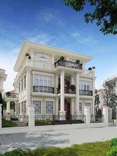 House design with classical architecture ideas 59 Classic House Exterior, Classic House Design, Dream House Exterior, Dream Home Design, Modern House Design, Bungalow House Design, House Front Design, Villa Plan, Villa Design