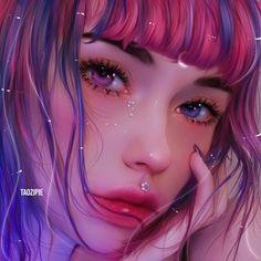 Digital Art Anime, Digital Art Girl, Pretty Art, Cute Art, 3d Drawings, Realistic Drawings, Cartoon Art Styles, Anime Art Girl, Portrait Art