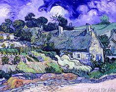 Vincent van Gogh - Thatched cottages at Cordeville, Auvers-sur-Oise, 1890