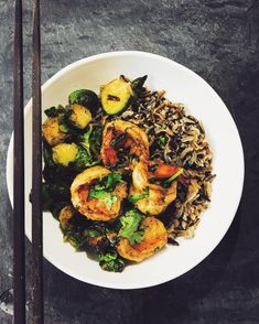 Wild rice with chili garlic shrimp and sautéed brussel sprouts - Dietetic Aesthetic | Capture the flavor    #delicious, #healthy, #eeeeeats, #food, #instafood, #nycfood, #buzzfeedfood, #buzzfeast, #newforkcity, #nyceats, #rd2be, #health, #nutrition, #dieteticaesthetic, #foodstagram, #feedfeed, #foodie, #f52grams, #spoonuniversity, #foodporn, #newforkcity, #huffposttaste, #feedfeed, #feastagram, #spoonfeed, #collegeeats, #nom, #nyc