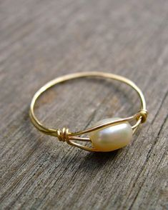 Freshwater Pearl wire wrapped ring #wirewrappedringspearl