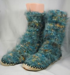 Teal blue green gold Spring color Angora yarn slipper by chicyarn, $29.00