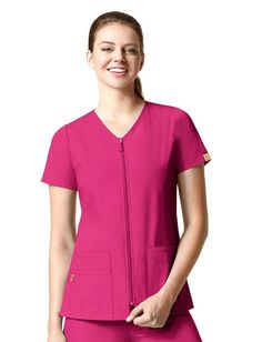 """- WonderWink """"Lady"""" fit zip front short sleeve jacket - Two lower pockets including one WonderWink signature triple pocket with a hidden mesh pocket - Front and back princess seams for a very flattering fit - Dyed-to-match front zipper with rubber Wond Stylish Scrubs, Scrubs Uniform, Uniform Advantage, Scrub Jackets, Lab Coats, Scrub Tops, Work Wardrobe, Short Sleeves, The Originals"""