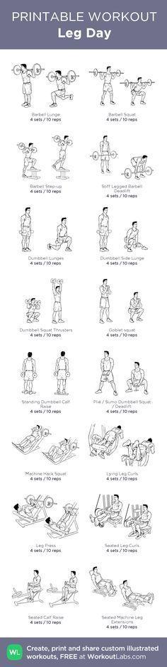 Leg Day: my custom printable workout by @WorkoutLabs #workoutlabs #customworkout