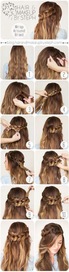 Twist Wraparound Half Ponytail Braid Tutorial and Pictorial | Gorgeous hairstyle for day or night! Gorgeous Hair Color! | Ledyz Fashions || www.ledyzfashions.com