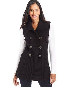Style&co. Cable-Knit Sweater Vest - Sweaters - Women - Macy's ...