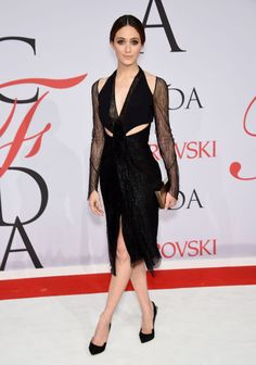 Emmy Rossum in Dion Lee at the 2015 CFDA Fashion Awards. See all the looks from the night.