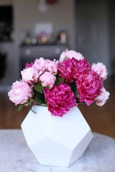 peonies and white vase via @mystylevita