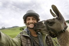 selfie with a gorgeous lama ... styling work for RMV campaign....photography by peter grosslaub