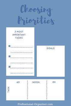 A handy sheet for you! Choosing Priorities 3 Most Important Tasks Life Organization, Organizing, Organize Your Life, Prioritize, School Counseling, Time Management, Personal Development, Bar Chart, Productivity