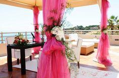 Pink wedding ceremony Algarve Portugal by Algarve Wedding Planners