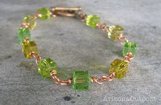"Green Swarovski Crystal Cubes with Copper 8"" Bracelet by visualriver, $35.00"