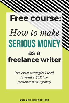 In this CRAZY actionable, in-depth course, I'll tell you how to start freelance writing and make SERIOUS money writing online. Check it out – it's FREE! :)   (make money writing online, how to start freelance writing, freelance writing tips, freelance writing for beginners, freelance writer)
